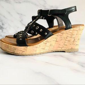 MICHAEL Michael Kors Black Studded Wedge Sandals
